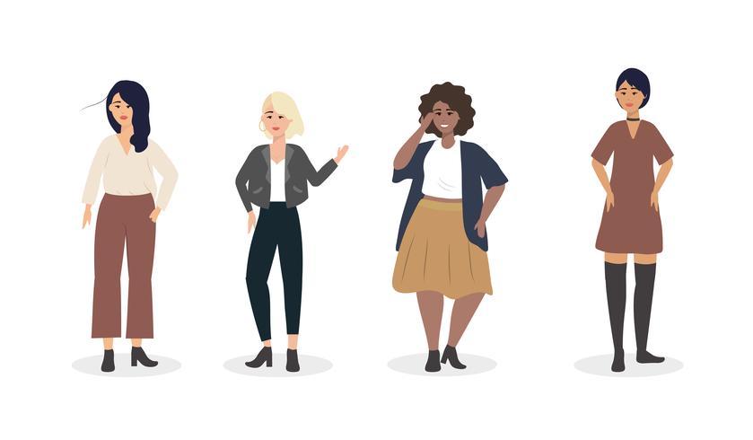 Conjunto de jóvenes diversas mujeres jóvenes