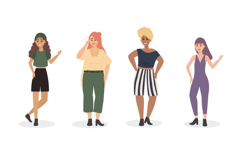 Conjunto de diversas mujeres en ropa casual