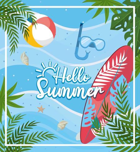 Hola mensaje de verano con tabla de surf y agua vector