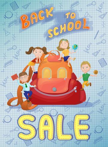 Leuke kinderen spelen op rugzak Terug naar school verkoop poster