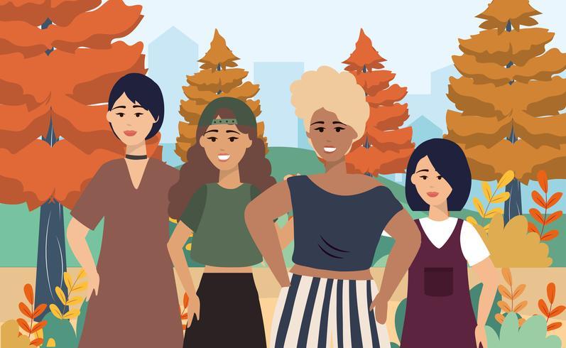Giovani donne con abbigliamento casual nel parco vettore