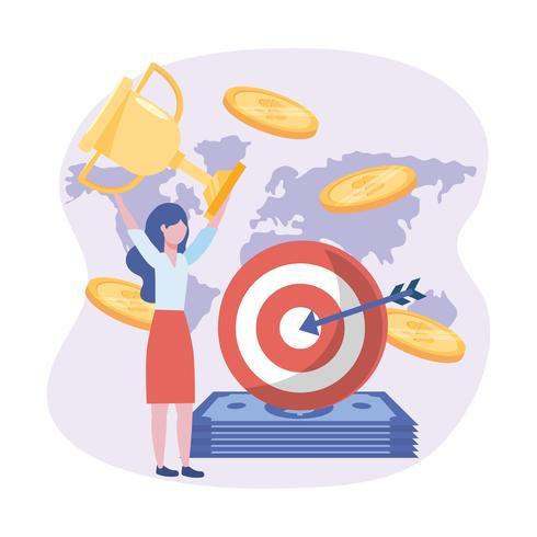Geschäftsfrau und Ziel mit Pfeil und Rechnungen und Münzen und Trophäe