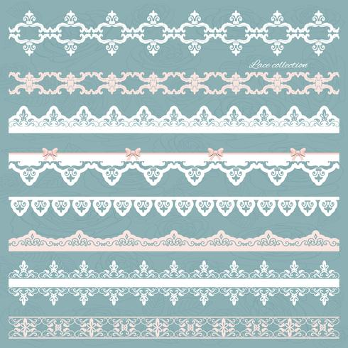 Set of cute straight lace in pastel colors.
