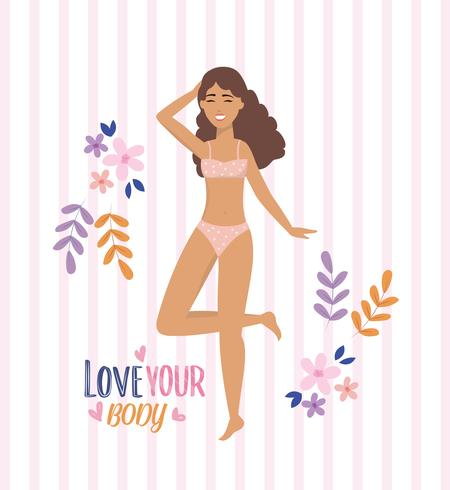 Cartel de love your body con mujer en ropa interior con flores