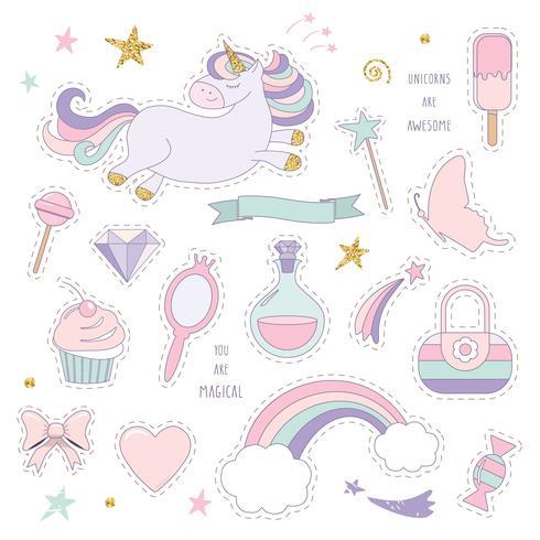 Unicornio mágico con arcoiris, estrellas y dulces.