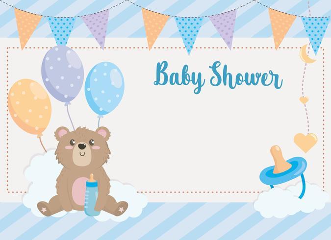 Babypartykarte mit Bären und Ballonen