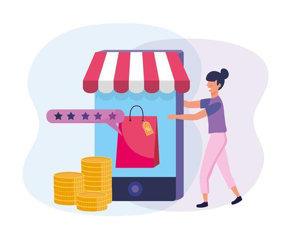 Mujer de compras en línea con gráfico de tecnología de teléfono inteligente