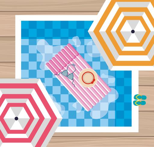 Sommerdesign mit Luftbild mit Pool und Sonnenschirm