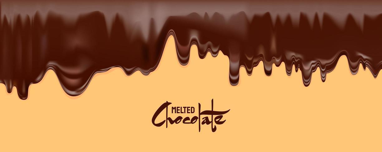 Geschmolzener Schokoladenvektor. Dunkle Schokolade tropft