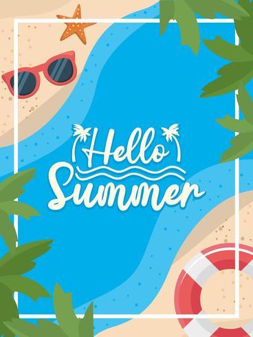Hola mensaje de verano en agua por arena