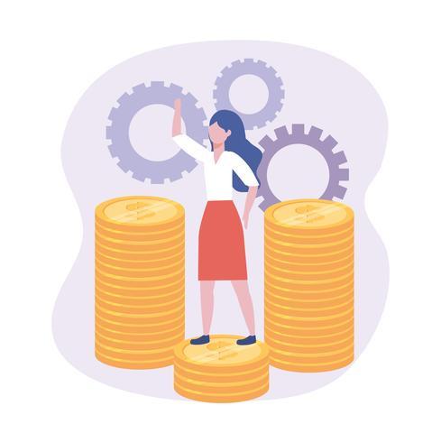 Affärskvinna med mynt och kugghjul