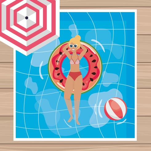 Aerial view blond woman relaxing in pool