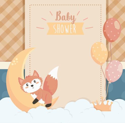 Baby shower card with fox and moon  vector