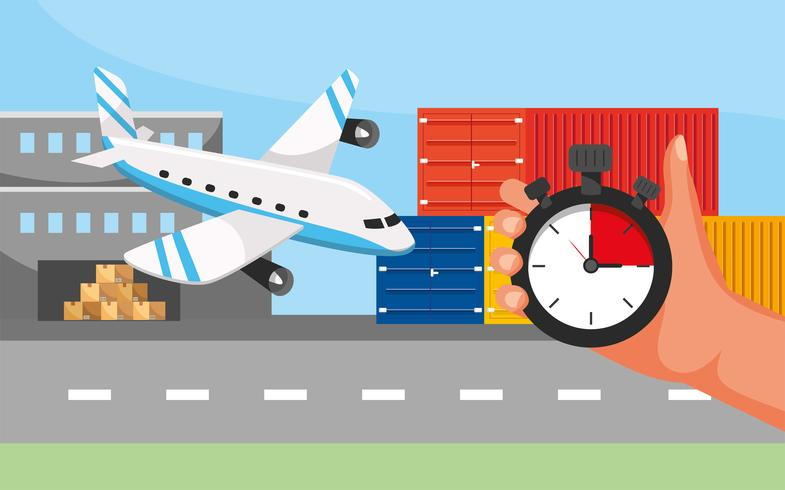 Airplane transport with hand and stopwatch  vector