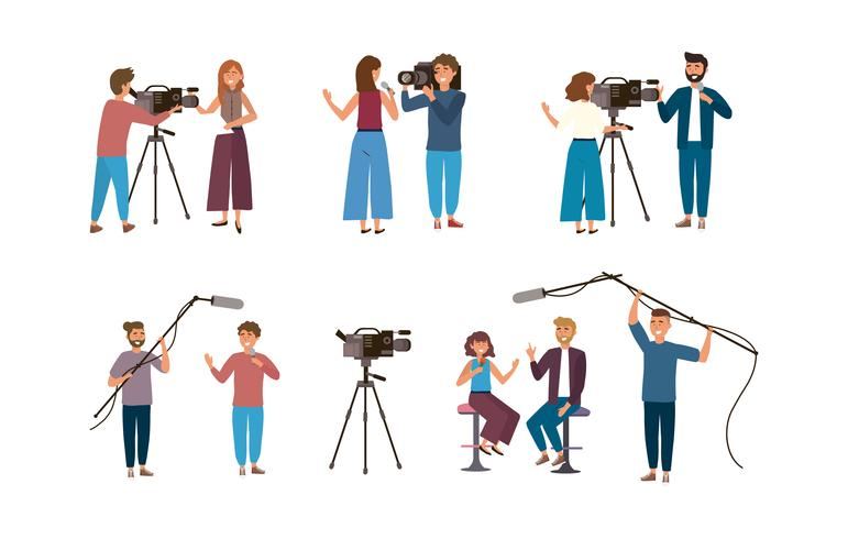 Ensemble de caméraman et reporters vecteur