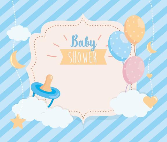Rótulo de chuveiro de bebê com chupeta e balões