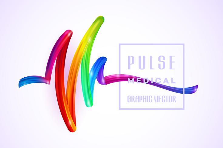 Färgrik Pulse Medical på ett färgglad element för penseldragolja eller akrylfärg