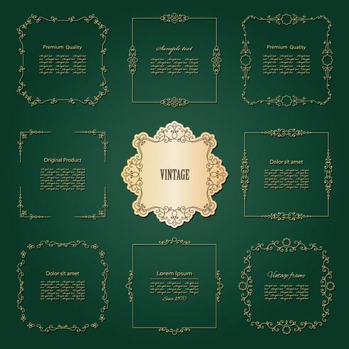 Conjunto de marcos y bordes dorados de lujo.