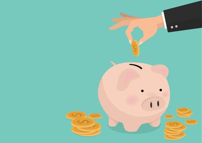 vlakke afbeelding Hand zetten munt een spaarvarken spaargeld concept van groei