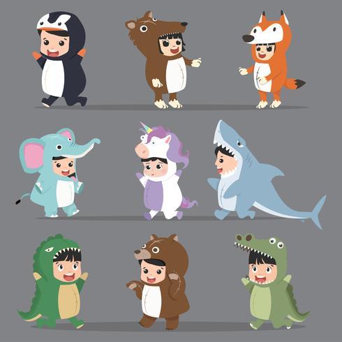 Conjunto de disfraces de personajes infantiles en animales
