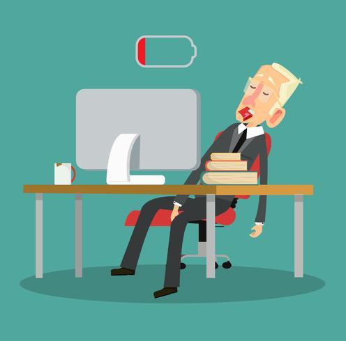 Uomo d'affari stanco con desktop computer e caffè