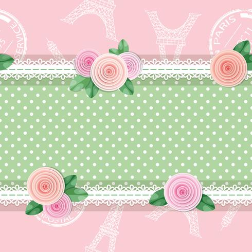 Shabby chic textile seamless pattern background with roses and Eiffel tower