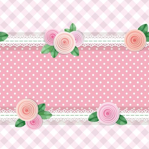 Shabby chic textile seamless pattern background with roses and polka dots vector