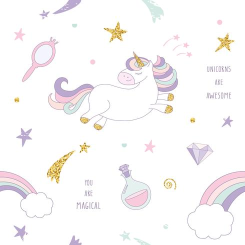 Unicornio mágico sin fisuras de fondo con arco iris, estrellas y diamantes.