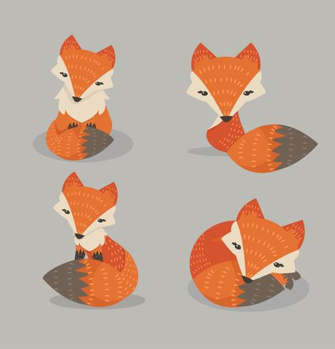 Cute fox set in different poses