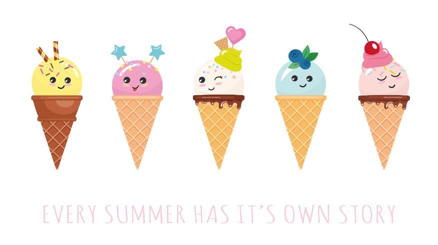 Personagens de casquinha de sorvete kawaii. Desenhos animados bonitos isolados no branco.