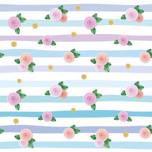 Naadloos patroon met rozen en goud glitter polka dots op gestreepte achtergrond. vector