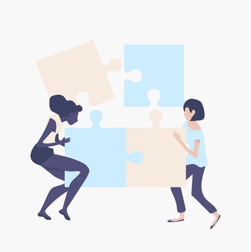 conceito de trabalho em equipe da mulher com peças de quebra-cabeças