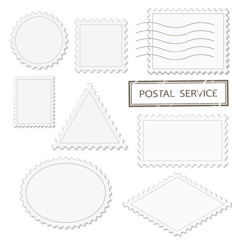 Blank postage stamps different shapes set - triangle, square, round, oval, rhombus