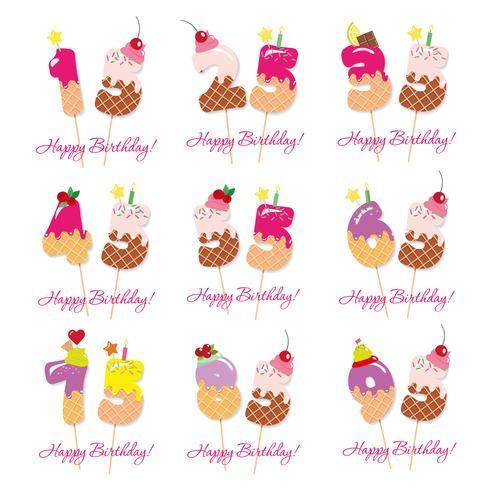 Conjunto de aniversário de aniversário. Números doces festivos de 15 a 95. vetor
