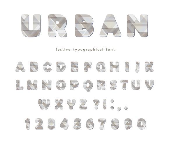 Police urbaine moderne. Lettres et chiffres stylisés vecteur