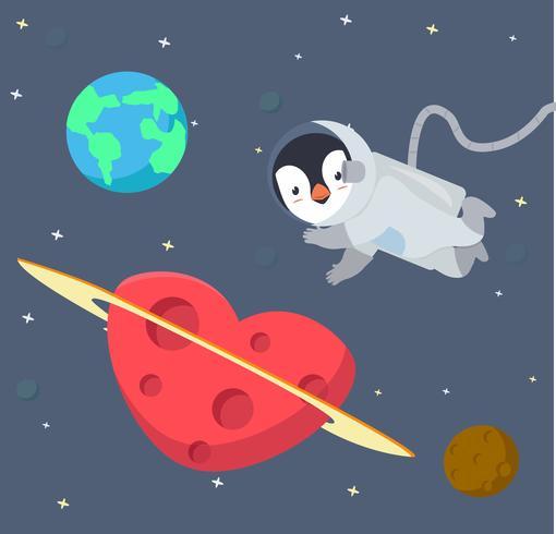 Pingüino astronauta flotando en el fondo del espacio