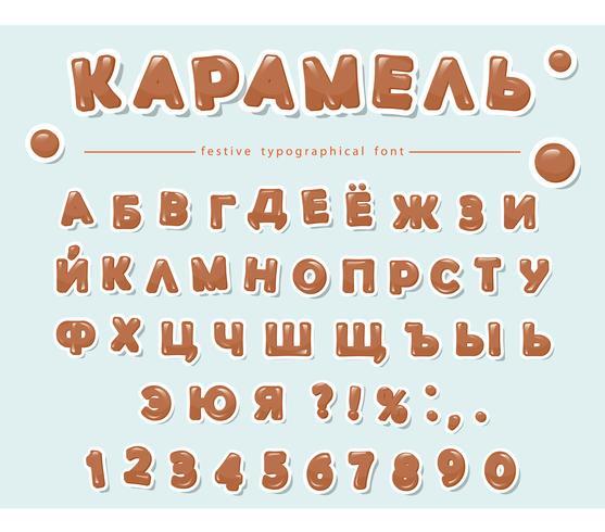 Alfabeto cirílico caramelo. Papel recorta letras y números dulces. vector