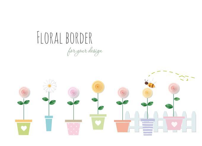 Borda floral com rosas e camomila em vasos.