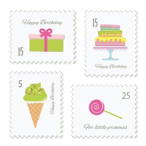 Set di francobolli di compleanno.