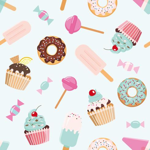 Birthday seamless pattern with sweets vector