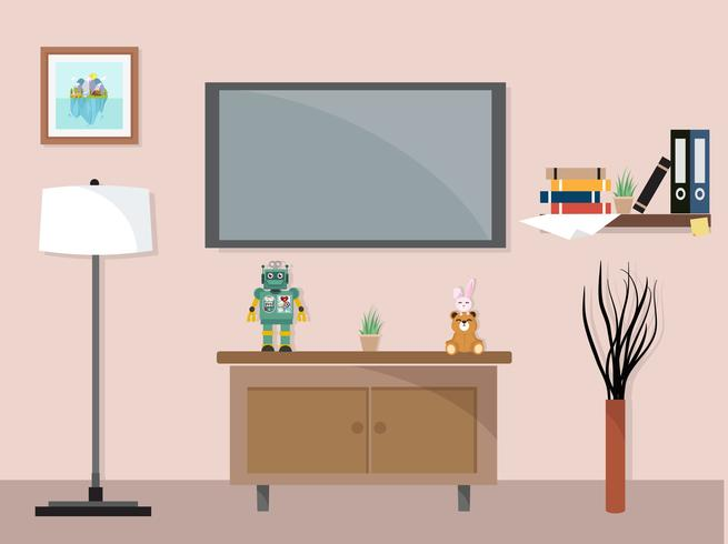 Living Room With Tv Furniture Workspace 670835 Download Free Vectors Clipart Graphics Vector Art