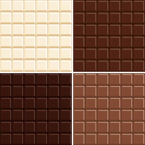 Naadloze geplaatste chocoladereeppatroonachtergrond - wit, melk, donker en extra donker.