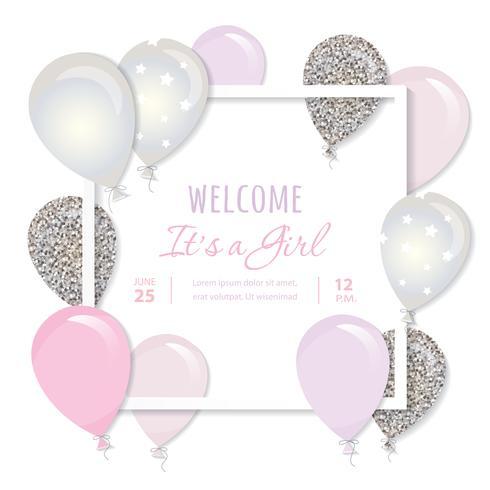 Globos en papel recortan marco cuadrado. Cumpleaños y diseño de baby shower de niña.