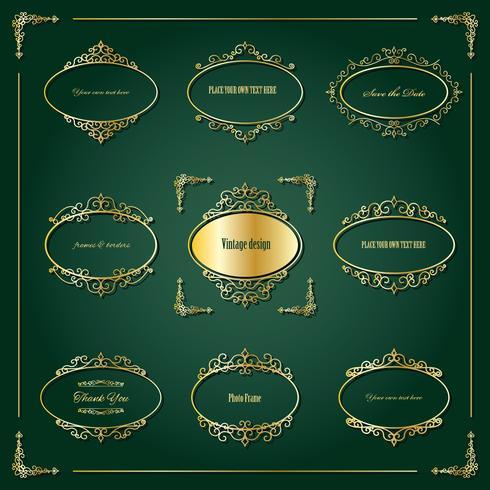 Conjunto de marcos y bordes dorados de lujo. vector