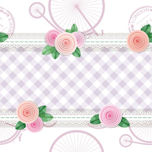 Shabby chic textile seamless pattern background with roses and bicycles vector