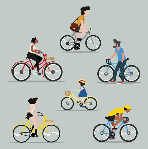 Collection of people riding a bicycle set