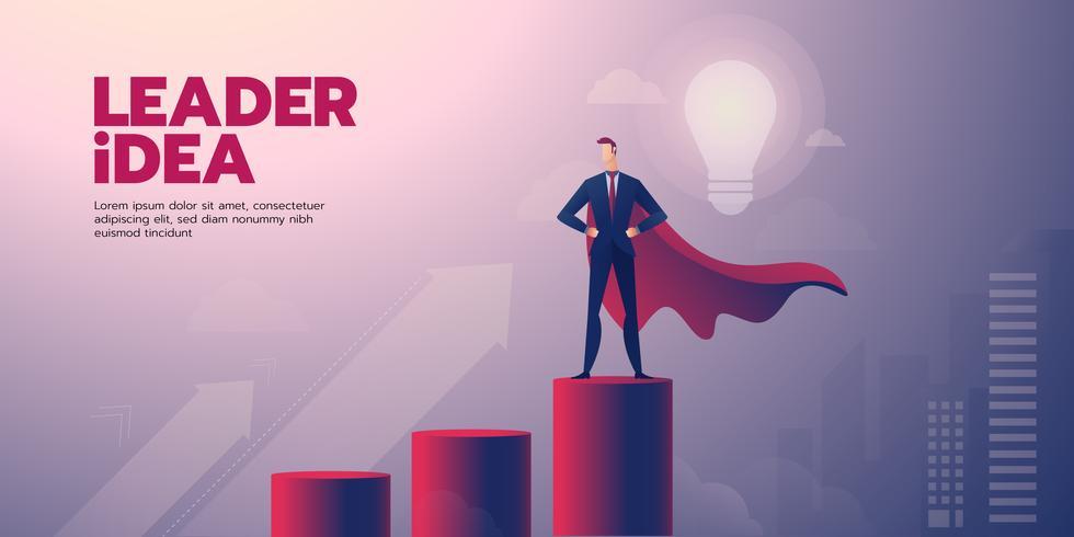 Bandera de liderazgo empresario con texto vector