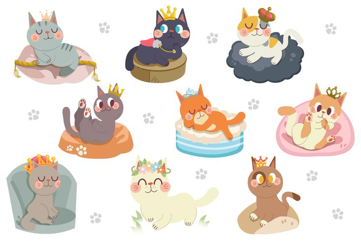 Cute cartoon cats character with crowns pack