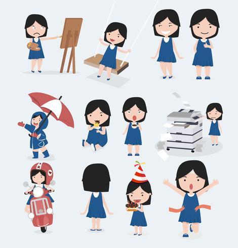 Conjunto de caracteres de vestido azul niña linda vector