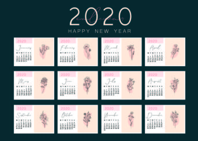 Elegant Calendar Template with Flowers